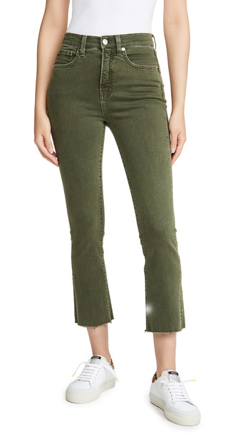 Veronica Beard Jean Carly High Rise Kick Flare Jeans with Raw Hem in stone