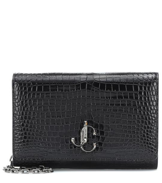 Jimmy Choo Varenne croc-effect leather clutch in black