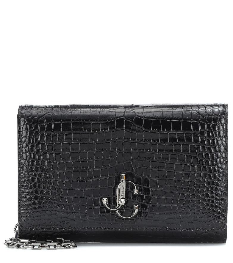 Jimmy Choo Varenne croc-effect leather clutch in black