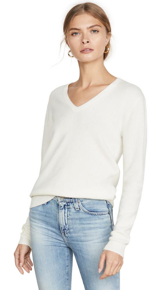 Naadam V Neck Cashmere Pullover in white