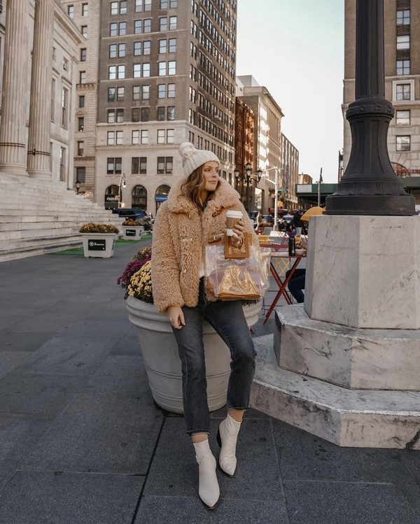 jacket teddy jacket ankle boots white boots cropped jeans beanie white sweater