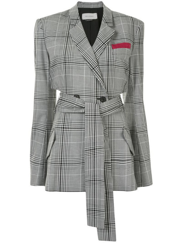 Hellessy cut-out plaid check blazer in black