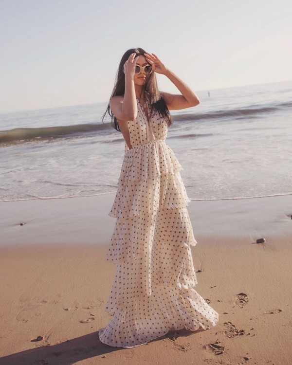 dress white dress maxi dress polka dots layered