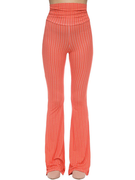 C'EST LA V Stretch Jersey Flared Pants in red