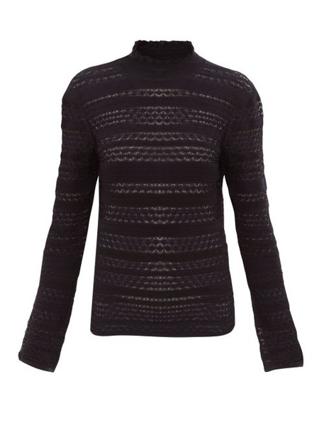 Chloé Chloé - High Neck Striped Knit Sweater - Womens - Navy