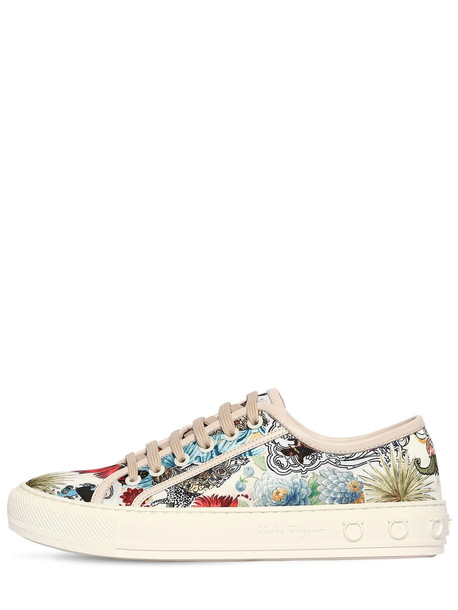 SALVATORE FERRAGAMO 20mm Borg Treated Printed Satin Sneakers in ivory / multi