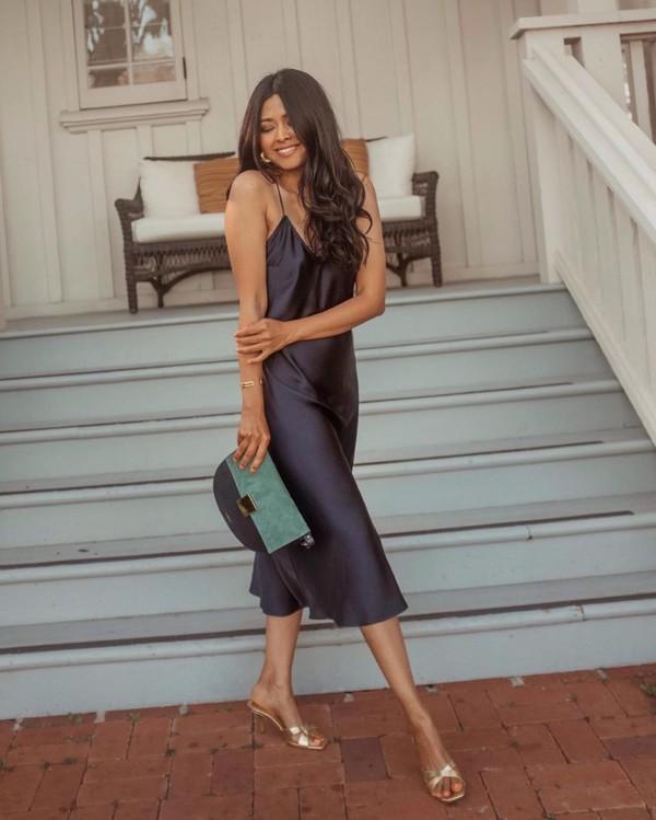 dress midi dress slip dress sleeveless sandal heels bag