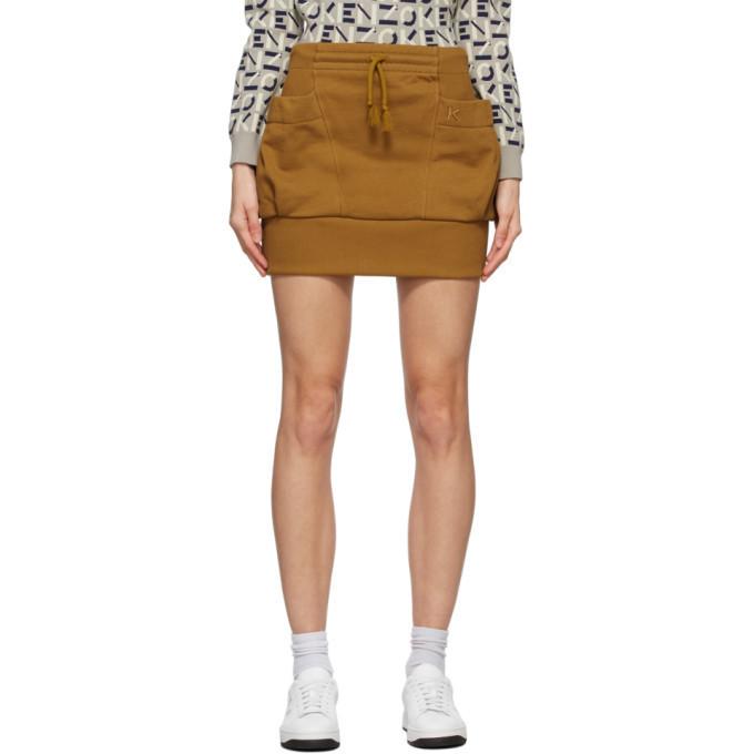Kenzo Orange Pocket Miniskirt in beige