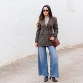 jacket,plaid blazer,double breasted,wide-leg pants,jeans,suede boots,turtleneck,crossbody bag