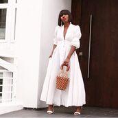 dress,maxi dress,v neck dress,short sleeve dress,white dress,white sandals,handbag