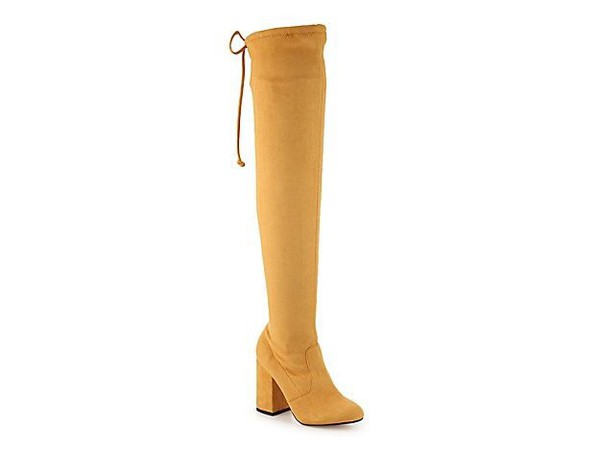 shoes over the knee boots mustard
