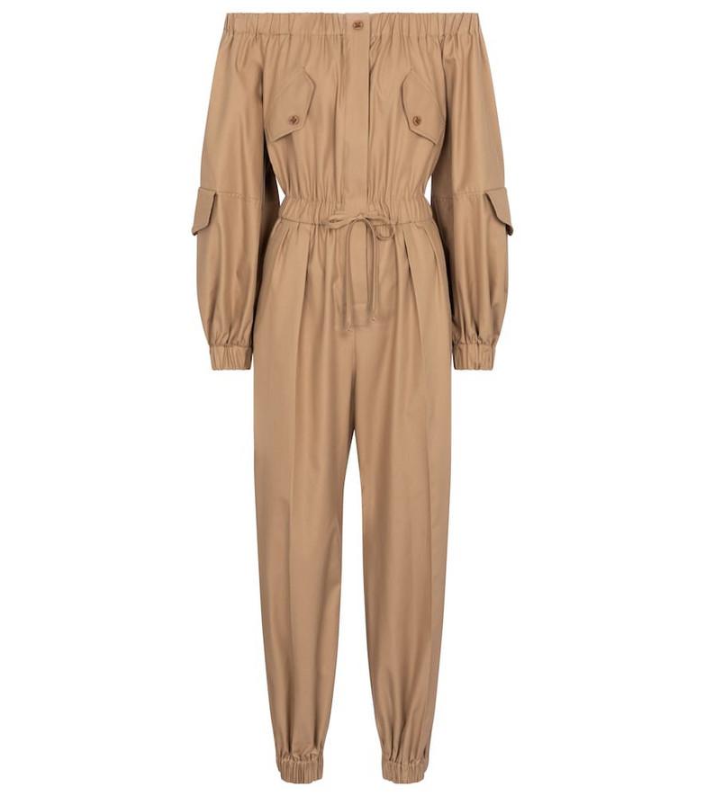 Max Mara Romana cotton off-shoulder jumpsuit in beige