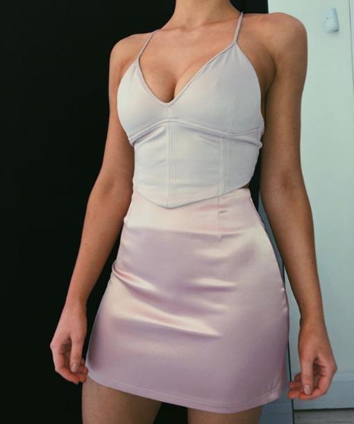 top corset top bodycon lilac satin