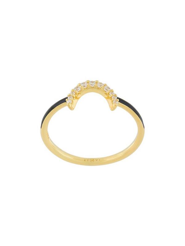 Eshvi crystal embellished ring in metallic