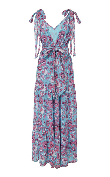 Banjanan Carnation Cotton Crepe Dress Size: XS in blue