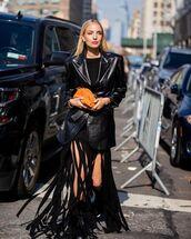 jacket,black leather jacket,maxi dress,fringes,black boots,bag