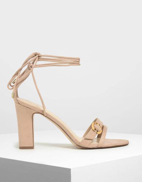 Open Toe Strappy Block Heels in beige