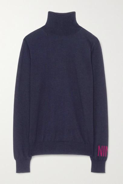 Nina Ricci - Intarsia Merino Wool Turtleneck Sweater - Navy