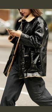 coat,black coat,black,vinyl,vinyl coat,new yorker,streetstyle,black jacket