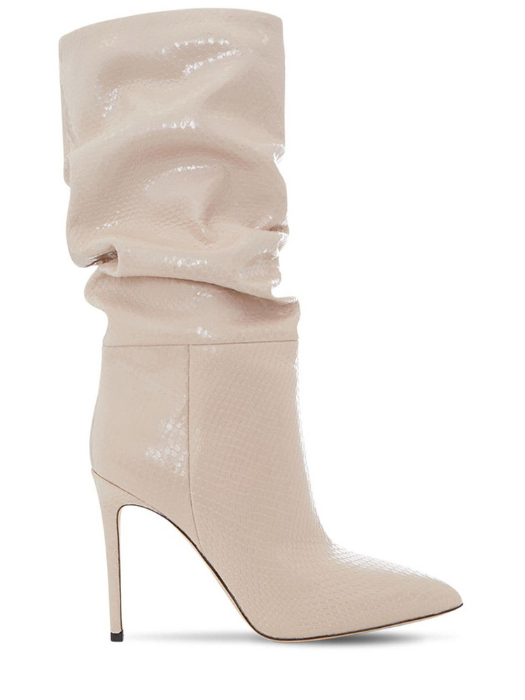 PARIS TEXAS 105mm Slouchy Python Print Leather Boots in cream