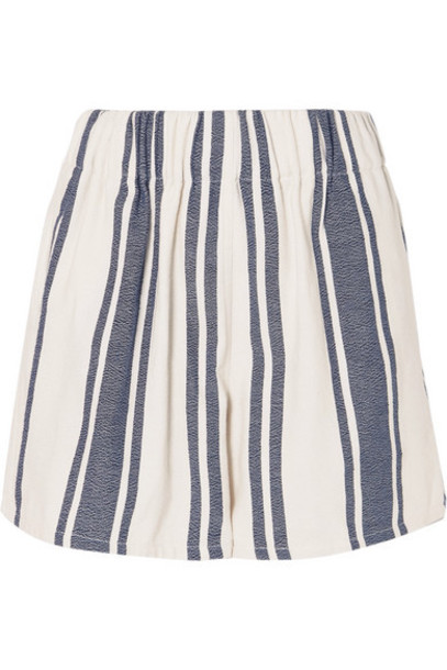 Lucy Folk - Beachside Striped Cotton-blend Shorts - White