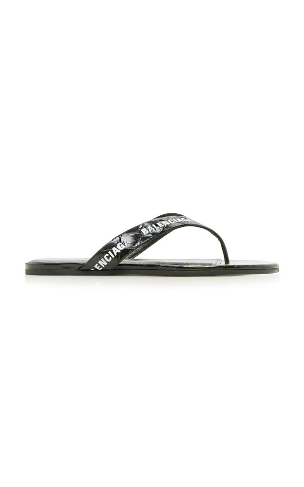 Balenciaga Logo Croc-Effect Thong Sandals in black
