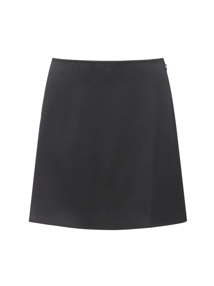 THE ANDAMANE Giada Envers Satin Mini Skirt in black