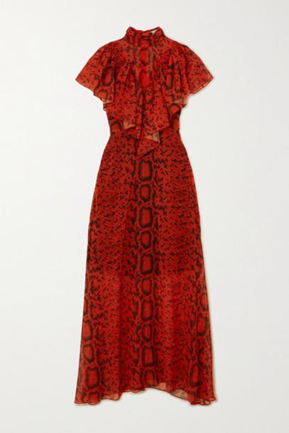 Preen by Thornton Bregazzi - Ruffled Snake-print Georgette Maxi Dress - Red