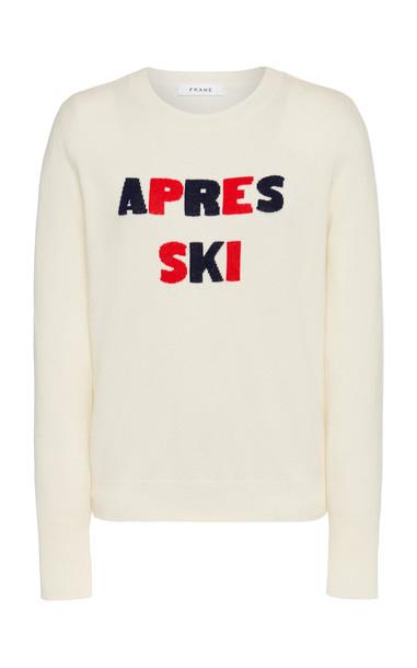 FRAME Apres Ski Intarsia-Knit Cashmere-Blend Sweater Size: XS in white