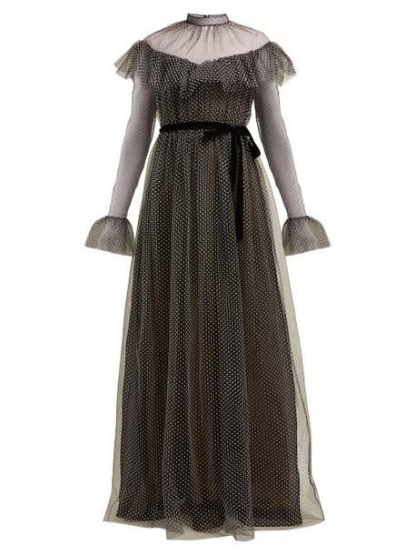 Erdem - Mirabelle Ruffled Polka Dot Tulle Gown - Womens - Black White