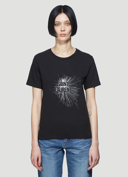 Saint Laurent Logo Print T-Shirt in Black size XS