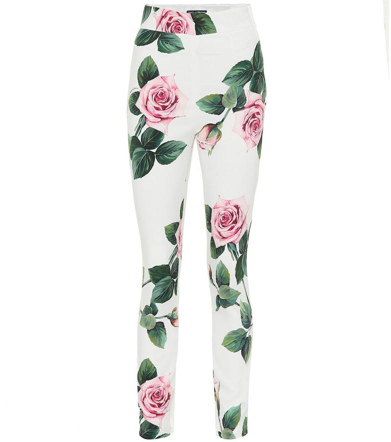 Dolce & Gabbana Floral leggings in white