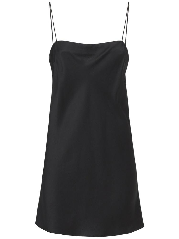 ROTATE Line Viscose Blend Satin Slip Mini Dress in black