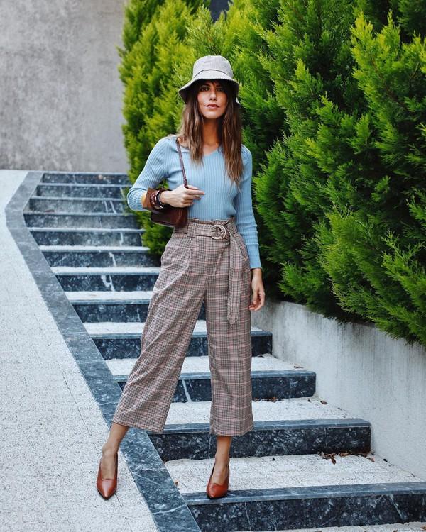 pants wide-leg pants plaid cropped pumps top mango shoulder bag
