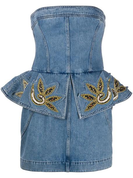 Philosophy Di Lorenzo Serafini embellished peplum denim dress in blue