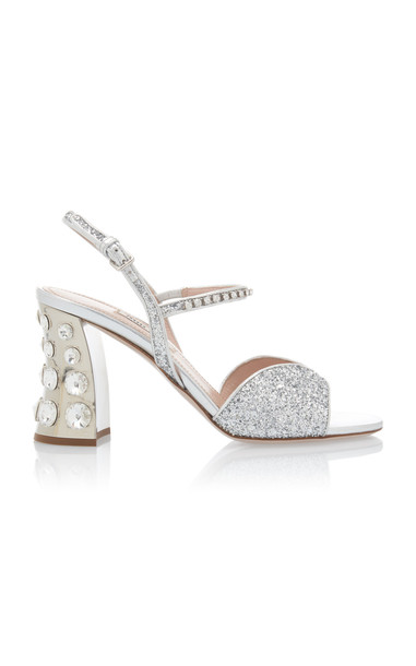 Miu Miu Embellished Glitter Block-Heel Sandals Size: 35 in silver