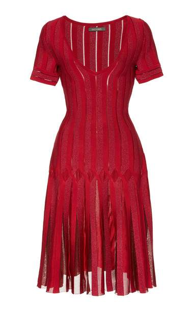 Zac Posen Pleated Lace-Panneled Mini Dress in red