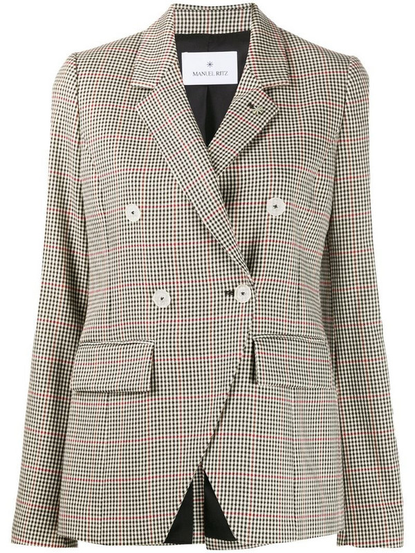 Manuel Ritz check print blazer in neutrals