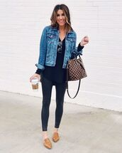 jacket,denim jacket,brown shoes,mules,black leggings,black blouse,brown bag,louis vuitton bag