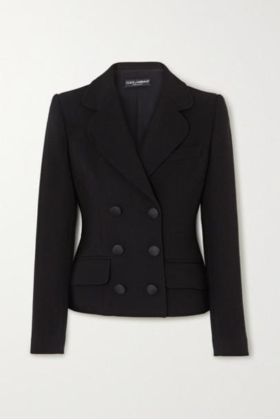 Dolce & Gabbana - Double-breasted Wool-blend Crepe Blazer - Black