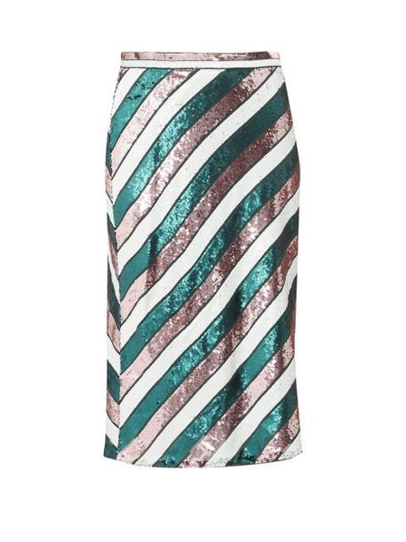 Diane Von Furstenberg - Sequin Striped Bias Cut Skirt - Womens - Green Multi