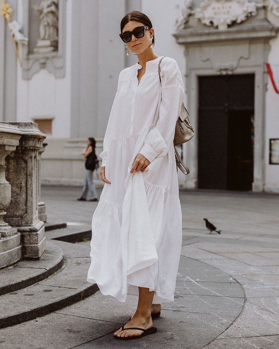 dress white dress maxi dress long sleeve dress flat sandals shoulder bag