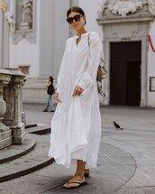 dress,white dress,maxi dress,long sleeve dress,flat sandals,shoulder bag