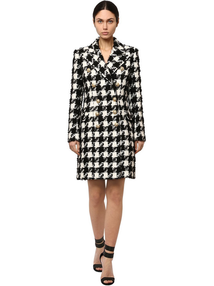 BALMAIN Wool Blend Hounds Tooth Coat in black / white