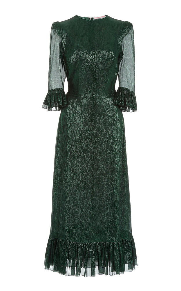 The Vampire's Wife The Falconetti Metallic Chiffon Midi Dress in green