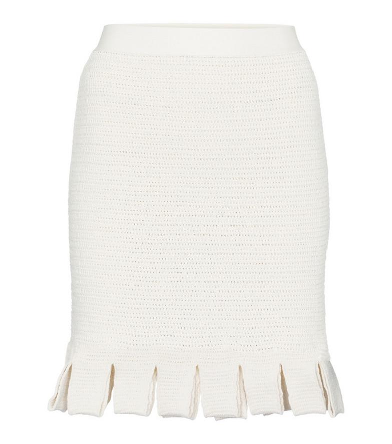 Bottega Veneta Crochet cotton-blend miniskirt in white