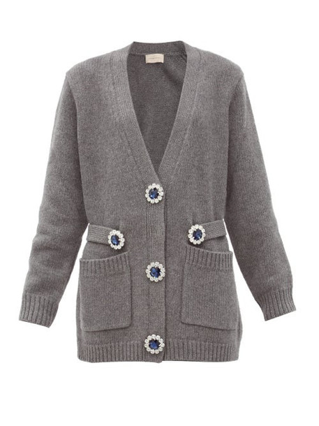 Christopher Kane - Oversized Crystal-flower Wool Cardigan - Womens - Grey