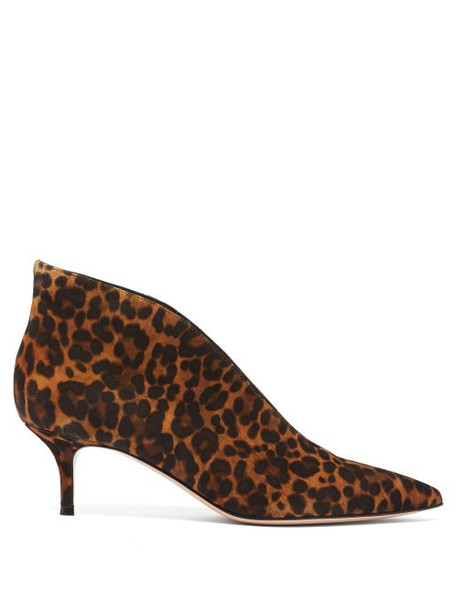 Gianvito Rossi - Vania 55 Leopard Print Suede Ankle Boots - Womens - Leopard