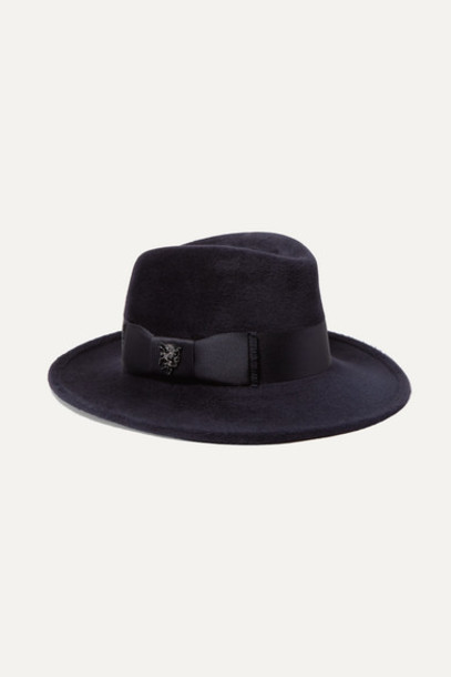 Philip Treacy - Raiders Embellished Satin-trimmed Wool-felt Fedora - Navy