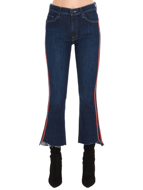Mother the Insider Crop Step Fray Jeans in blue